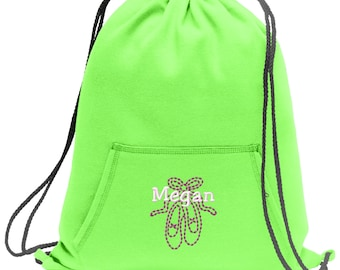 Sweatshirt material cinch bag with front pocket and embroidered spirit design - Ballet - Multiple Colors - Camouflage - BG614