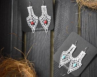 Lace & Bead Drop Earrings
