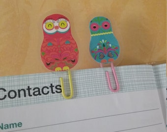 2 adorable owls paper clip set or bookmark