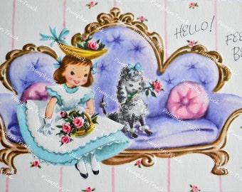 UNUSED Vintage Greeting Card -  Get Well Girl and Poodle