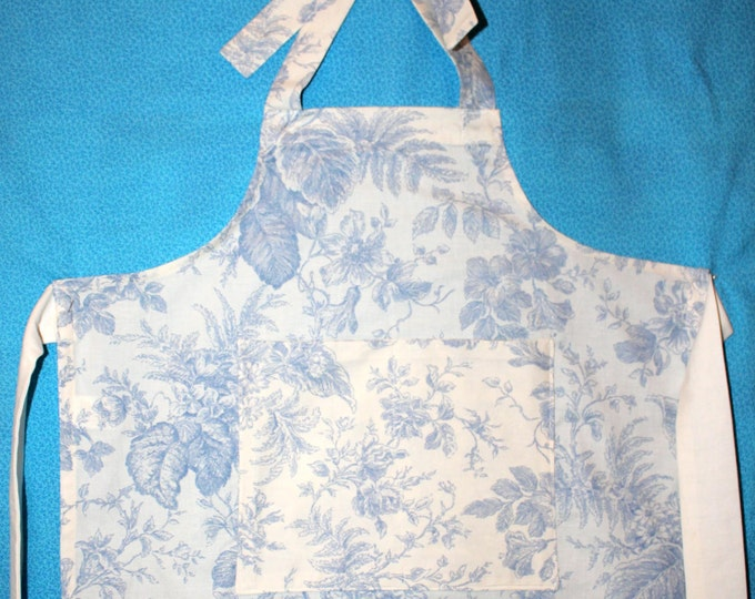 Child's Light Blue Floral Toile Damask Apron with Large Pockets. Classic French Damask Apron for Child