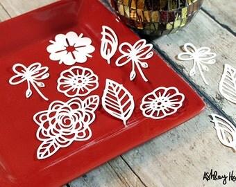 Pre-Cut Funky Florals cut file set, includes 11 pieces.