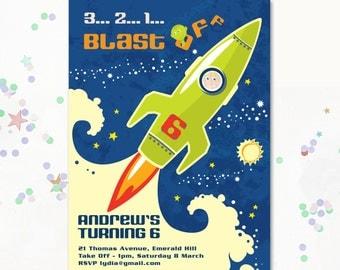 Space Party Invitation, Space Invite, Space invitation, Space Theme Party, Solar System Invite, Astronaut, Rocketship Invite, Motif Visual