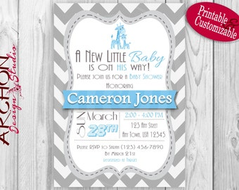 Grey Chevron with Blue Accent Giraffe Baby Shower Invitation – Printable & Personalized