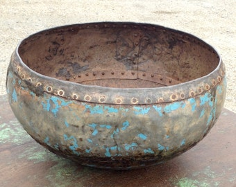 Vintage Blue Hand Crafted Iron Cooking Bowl. Rajasthan.