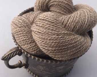 """Natural colored """"Cafe Au Lait"""" sport weight Romney wool yarn, 2-ply, 200 yard skein"""