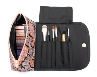 Trendy Tribal Large Makeup Bag with a Brush Holder and Magnetic Button!