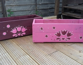 Hand painted pallet wood planter.