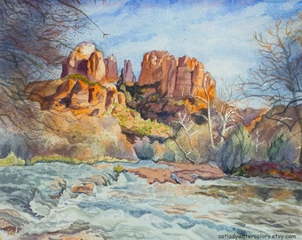 Oak Creek Canyon in Arizona Watercolor Print. Southwestern Decor. Landscape painting. Arizona artwork. Oak Creek art. Watercolor landscape.