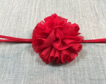 Newborn Headband, Toddler Headband, Girls Headband, Baby Headband, Red Headband, Babies Headband, Red Flower Headband