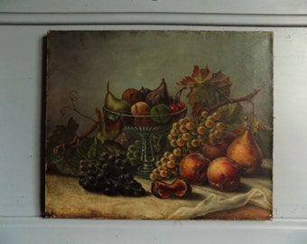 Stunning French antique still life painting, nature morte, signed Baumat, 1913.