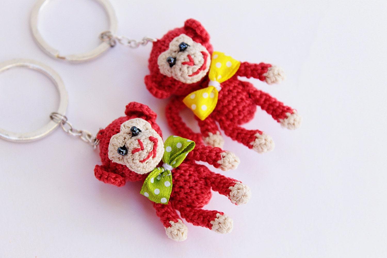 Amigurumi Monkey Keychain : Monkey Kechain Crochet Monkey Keychain Red Monkey by croshka