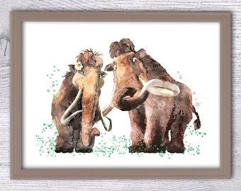Ice Age poster, Manny the Mammoth, Love print, Mammoth family, Watercolor Art Disney, Elephant Print, Ice Age, Children room, Animal art V94