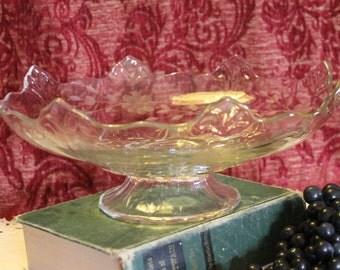 1930's Duchess Fleur de Lis Indiana Glass Large Pedestal Serving Bowl