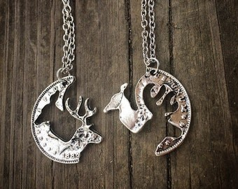 Couples buck & doe necklaces (set)