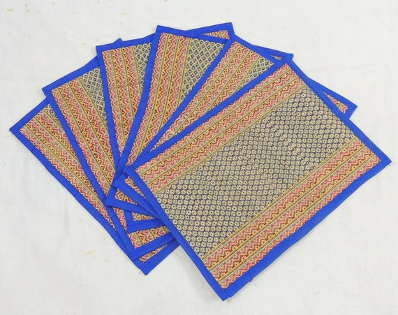 Natural fibre place mats dining table mats blue by for Table mats design your own