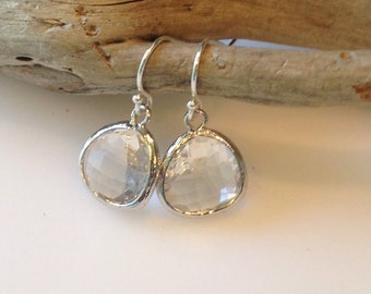 Crystal Glass Earrings, Sterling Silver, Crystal Clear Drop Earrings, Gift Earrings, Silver and Crystal Dangle Earrings, Hypoallegetic