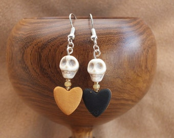 SALE!! Black and gold heart earrings, skull earrings, love earrings