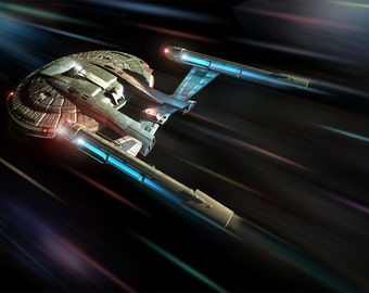 Star Trek Digital Art  Glossy Print  'Enterprise NX01 At Warp'
