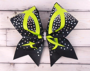 Cheer Bow - Competition cheer bow - cheer team - cheerleading - cheerleading uniform - you pick your colors - cheer bow with rhinestones