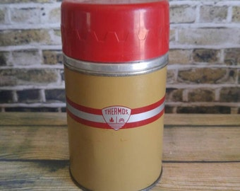 Small Soup Thermos, Red Metal Thermos, Vintage Thermos, Red Stripe Thermos, Brown Thermos, Collectible Thermos