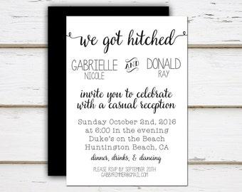 Mellie - Printable / Printed Elopement Reception Invitation