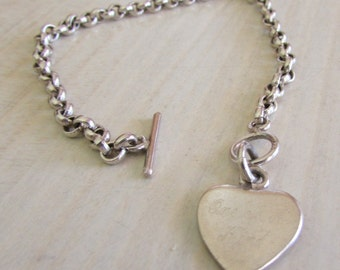 Sterling Silver Heart Pendant on Rolo Chain with Toggle Clasp