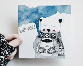 greeting card new year - bear
