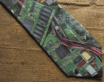 Vintage Ralph Marlin Tie Circuit Board 1994 Computer Tie