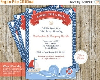 ON SALE - Limited Time Ahoy Its a Boy Invitation Baby Shower Invitation Printable Nautical Beach Sailboat Baby Shower Invite Baby Boy