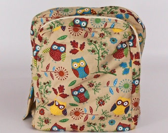 Cute owl backpack/ school bag/ college backpack/ back to school/ travel backpack/ rucksack/ fabric backpack/ gift for her/ free UK p&p