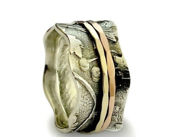 Floral Wide Band, Sterling silver and Gold Botanical ring, gold spinners ,Vintage style Handmade Jewelry, Wide Wedding band Bridal Ring,Sale
