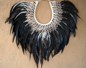 Feather necklace, necklace, feather accessory, feathers, indian, home decor, home accessory, bohemian, hippie, ethnic, unique,handmade,black