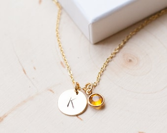 NECKLACE GOLD  birthstone personalized unbiological sister initial letter birth stone birthday gift silver necklace jewelry child kid/NE-900