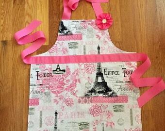Paris aprons for girl and doll, girl apron, doll apron, Eiffel tower aprons, gifts for girls, girl and american girl doll aprons