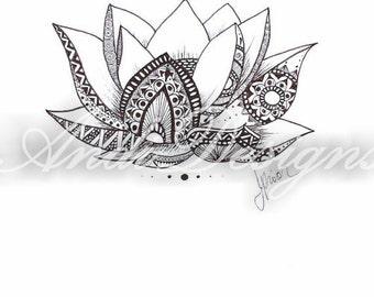 Lotus flower dark brown india ink drawing.  henna style,  meditation boho hippie art. relaxation