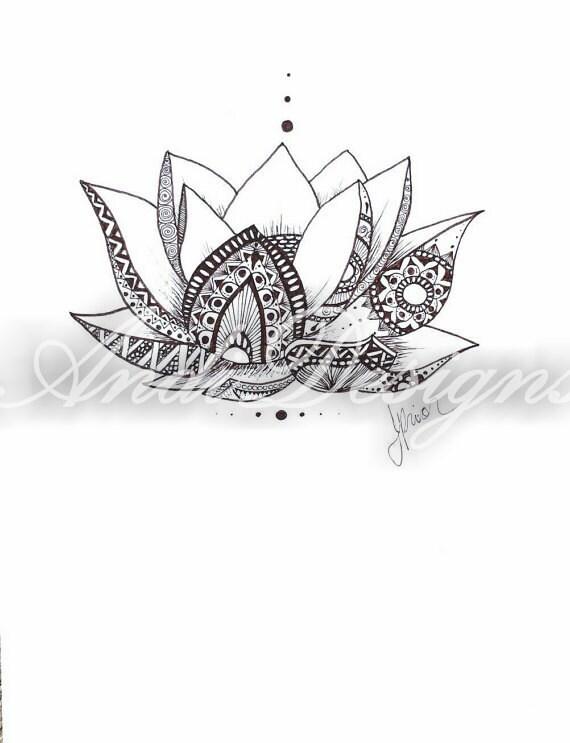 lotus blume dunkel braune tusche zeichnen henna stil. Black Bedroom Furniture Sets. Home Design Ideas