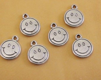Bulk 20 Smiling Face Charms Antique Silver Tone 2 Sided 12mm