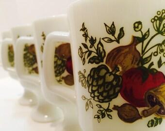 Vintage Milk Glass Mugs, Corning Ware, 1960s Kitchen, White Pedestal Mug, Vegetable Design, Pyrex Milk Glass, Vintage Coffee Mugs