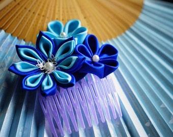 Blue kanzashi haircomb accessory