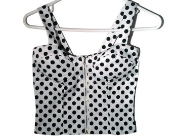 Vintage Polka Dot Bustier Crop Top