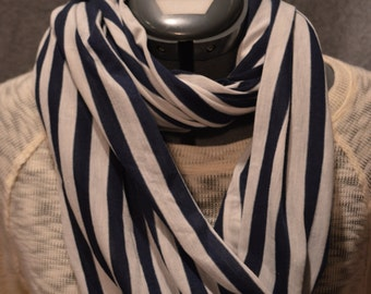 Handmade Infinity Scarf White and Navy Stripes Knit Fabric