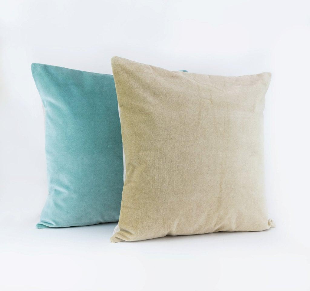 Beige velvet throw pillow Beige floor cushion by LinenandStripes