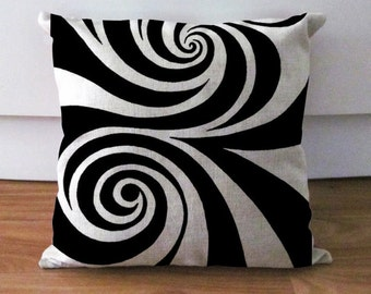 """White and Black Swirl Pillow Cover,Geometric Pillow Case,Lollipop Cushion,Decorative Pillows 18"""",Throw Cushion Cover,Couch Pillow Home Decor"""