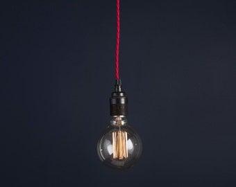 Vintage Industrial Retro Antique Pendant Light Kit with Edison Globe Filament Bulb