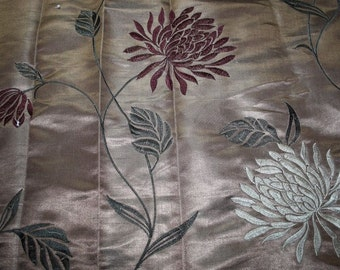 Embroidered Floral Brown Leaves Dress Fabric Silky Tailoring Home Sewing 68 x 97 cm Art&Craft Needlecraft Supplies