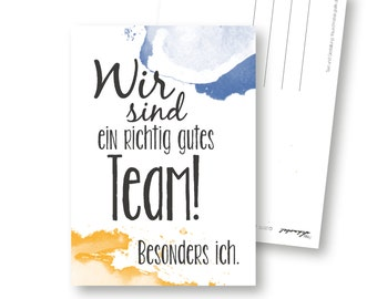 Funny post card, good team, recycled paper, postcard, team, team leader, card card card for colleagues, card for boss