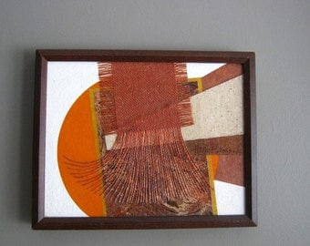 60's 70s vtg MOD abstract Mixed  Media  Painting  sculpture HARRIET HANSON Chicago