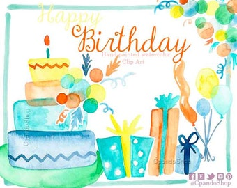 Watercolor Cake Clip Art : Watercolor cakes Etsy