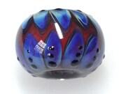 Handmade Glass Bead/Peach-Pale Blue Handmade Glass Bead/BHB/Big Hole Handmade Glass Bead